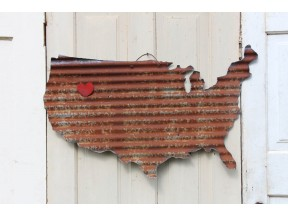 Metal USA with heart magnet