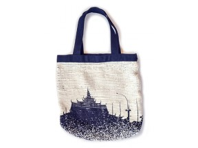 Nary Tote with palace print - handwoven