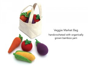 Crocheted Veggies with Market Tote Bag.